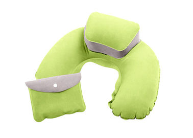 Cina Comfortable Inflatable Travel Neck Pillow PVC Flocking Material With Pouch pemasok