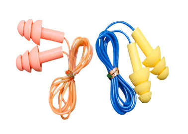 Cina 3.1g / Pair Tree Shape Sound Proof Ear Plug Silicone Dengan Kabel Plastik pabrik