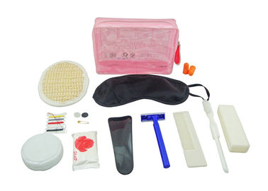 Cina Disposable Plane Travel Kit With Pink PVC Pouch / Loofah Pad / Earplug / Sewing Kit pabrik