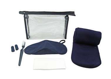 Cina Five Contents Blue Airline Amenity Kits / PVC Pouch Travel Kits For Flying pabrik