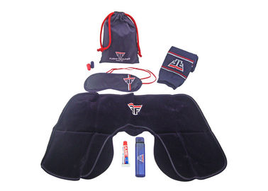 Cina Blue And Red Airplane Travel Kits With Inflatable Neck Pillow / Eye Mask pabrik