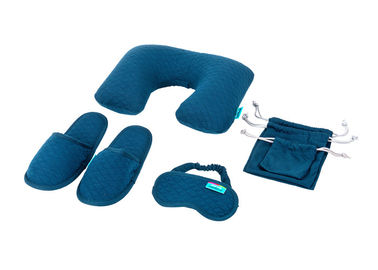 Cina Simple Airplane Travel Kits Inflatable Neck Pillow Eye Mask Closed toe Slippers and Single Pouches pabrik