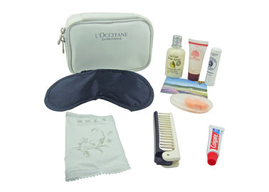 Cina Practical Airline Amenity Kits Portable Nine Contents White Color Microfiber Pouch pabrik