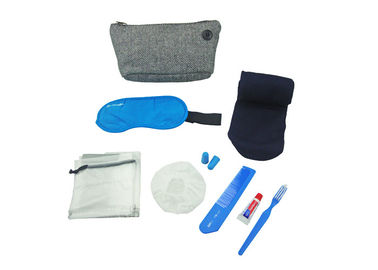 Cina Eight Contents Travel Set Airline Amenity Kits with Pouch / Eye Mask / Comb / Toothpaste pabrik