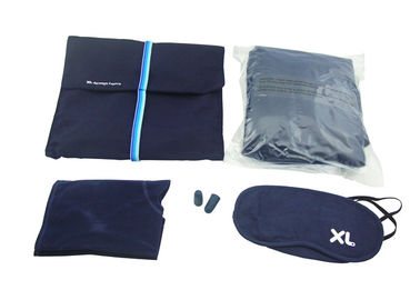 Cina Airline Amenity Kits Blue Color Travel Sleeping Kits With Inflatable Pillow And Blanket pabrik