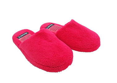 Soft Rose Red Disposable Hotel Slippers Indoor Non - slip Flooring Short Plush