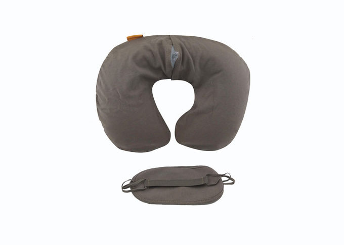 Washable Travel Neck Pillow Velvet Inflatable Flocked Air Rest Pillow with Eye Mask